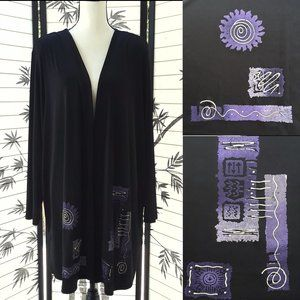Vintage 80's Black & Purple Asian Inspired Duster